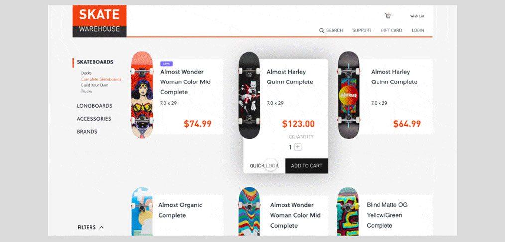 Skate Shop XD Website Interaction