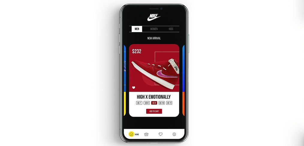 Shoes app XD parallax animation