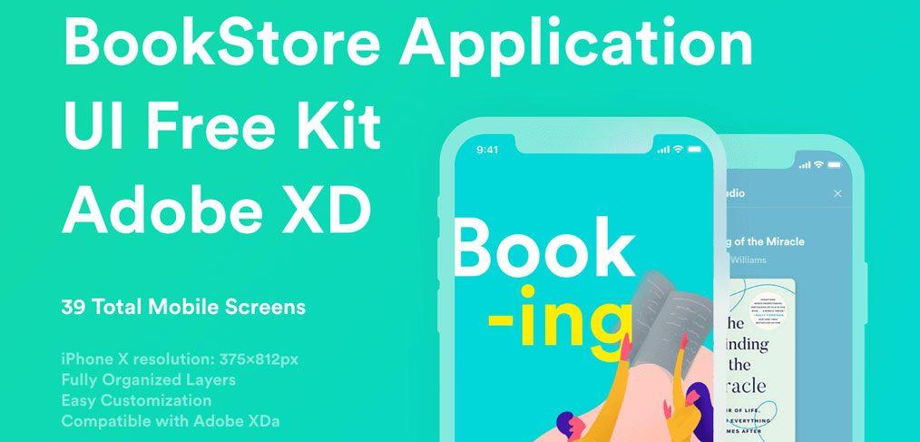 Bookstore App Free UI kit for XD