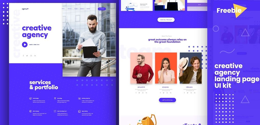 Agency landing page XD template