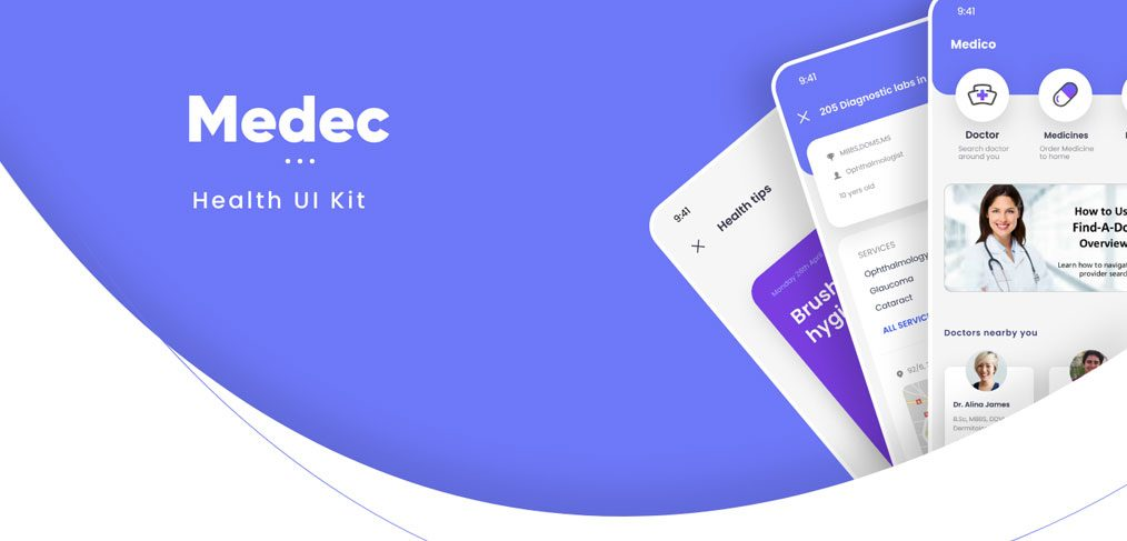 Health app free XD UI kit