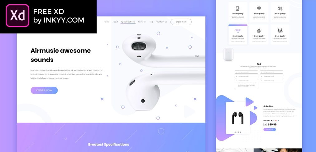 Music free XD website template