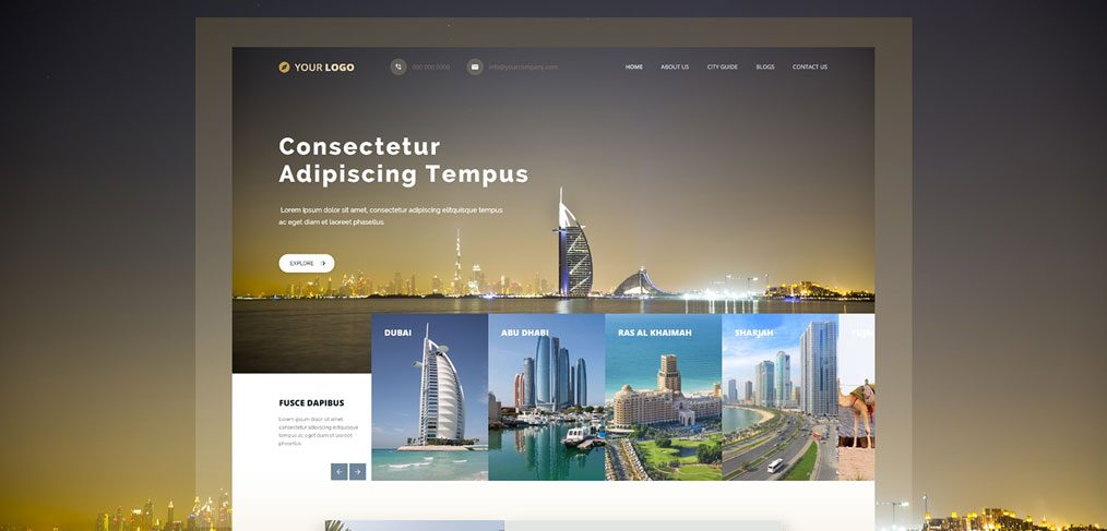 Free XD travel website template