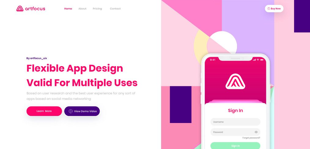 Free XD app landing page template