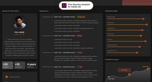 CV resume template for Adobe XD
