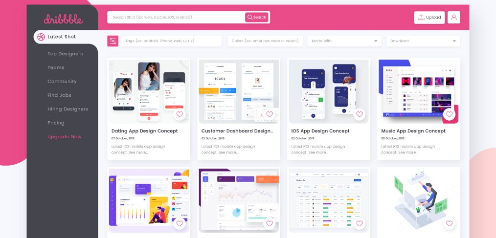 Dribbble redesign XD template