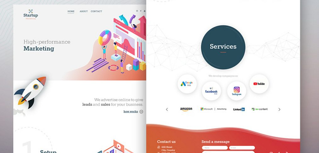 Marketing landing page free XD template
