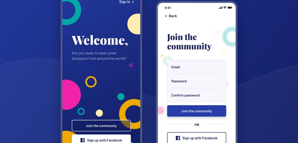 XD Welcome & Signup screens