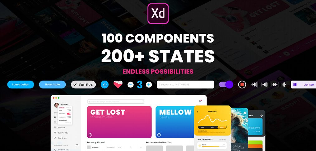 Component states free XD UI kit