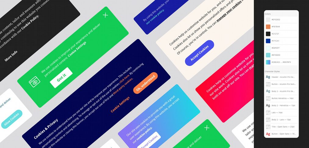 Cookie banner UI kit for XD