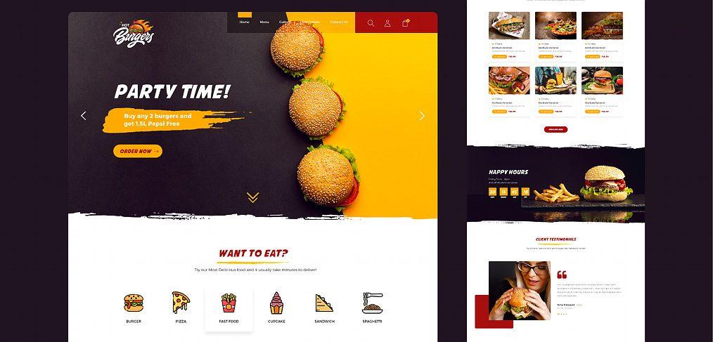 Fast food XD website template