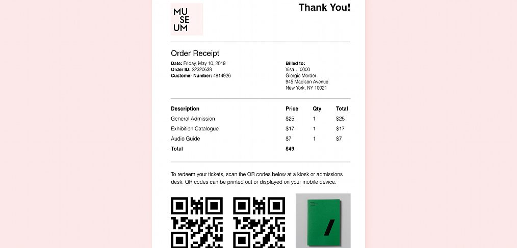 Email order receipt XD template
