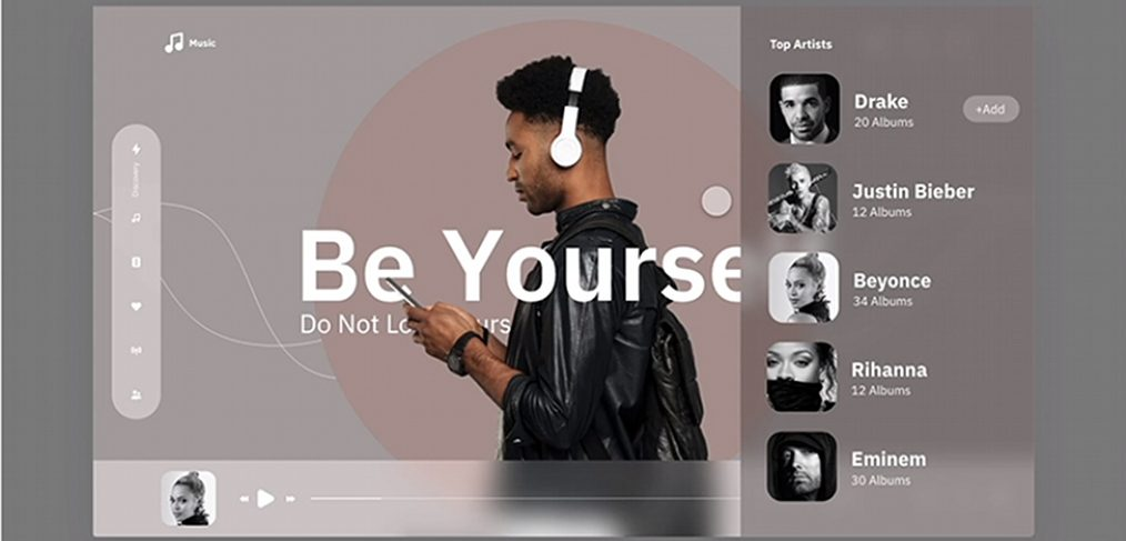 Music animated XD landing page
