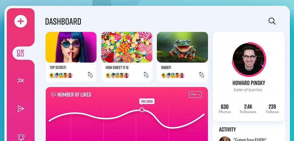 Social media XD dashboard template