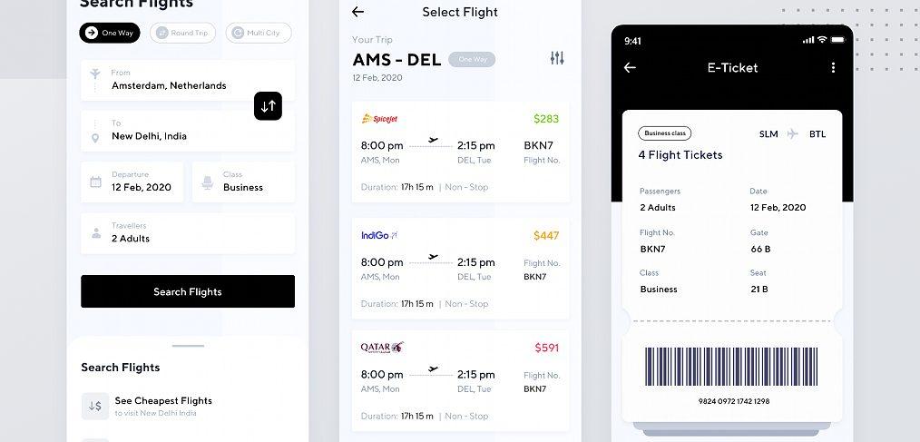Flight app free XD UI kit