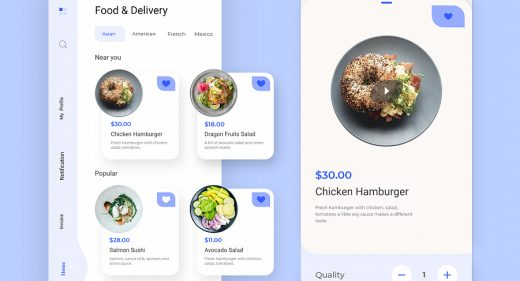 Food delivery XD app template
