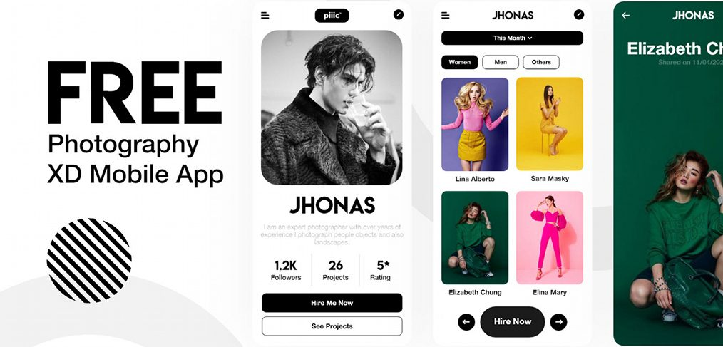 Photography app template for XD