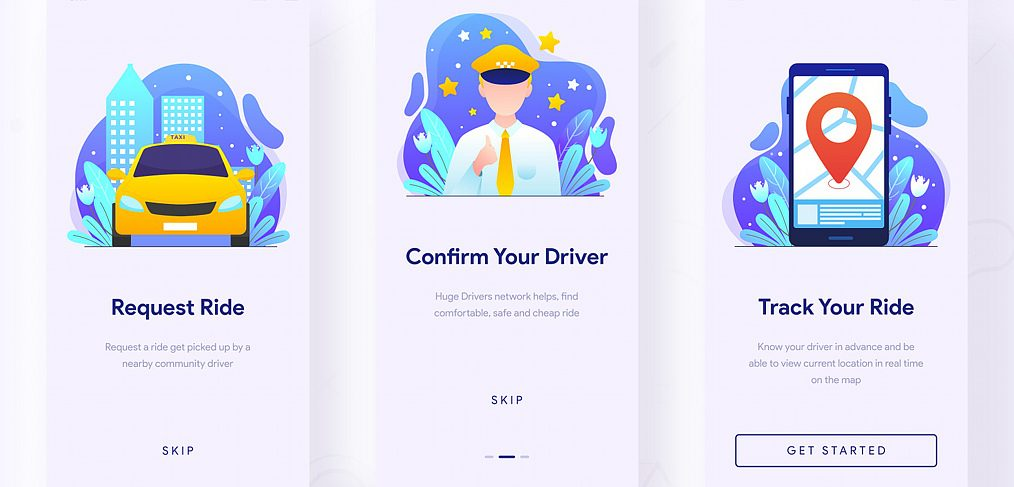 Taxi app template for Adobe XD