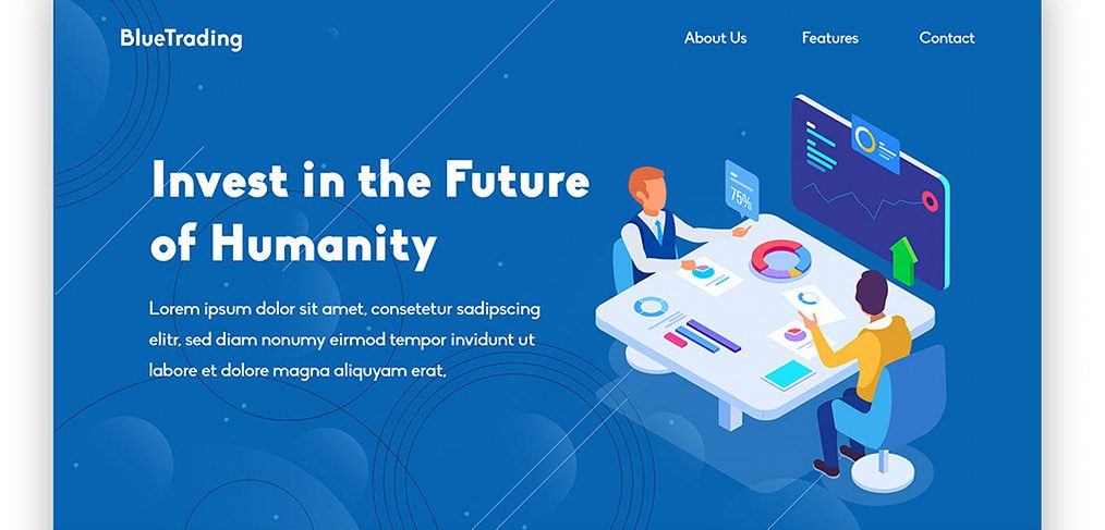 Trading XD landing page template