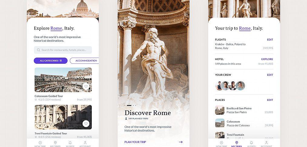 Travel planner app XD freebie