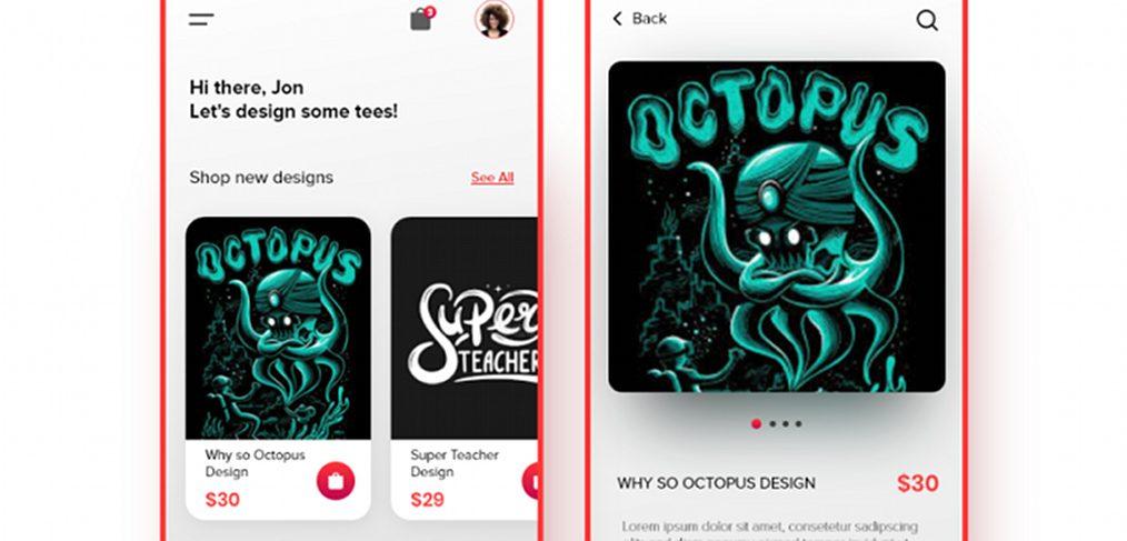 Tshirt Design Store XD App template