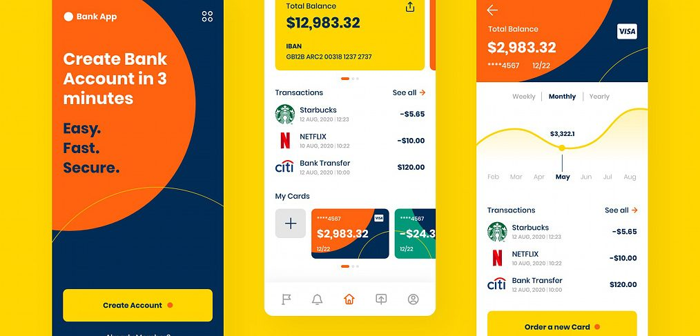 Banking mobile app XD template