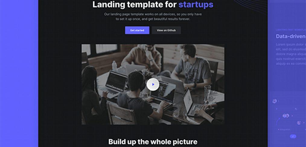 Open - Free React landing template