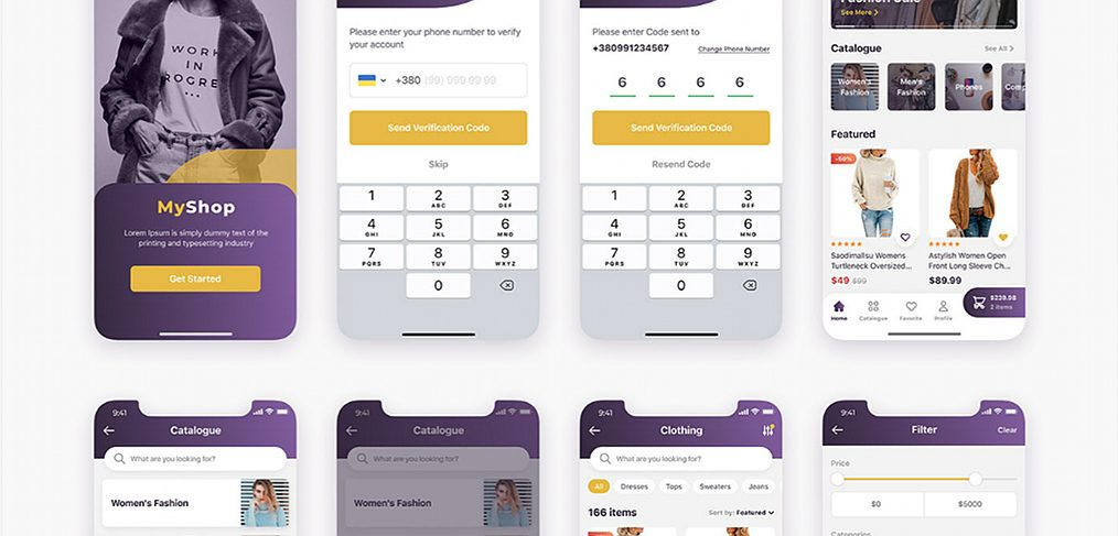 Free XD ecommerce app template