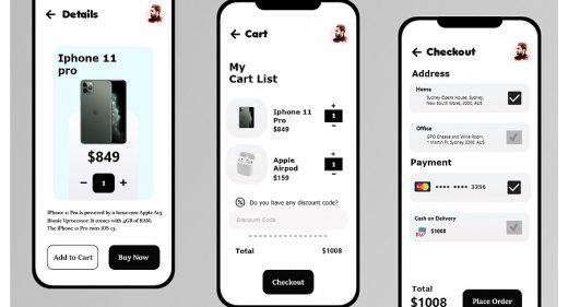Mobile shop XD checkout flow
