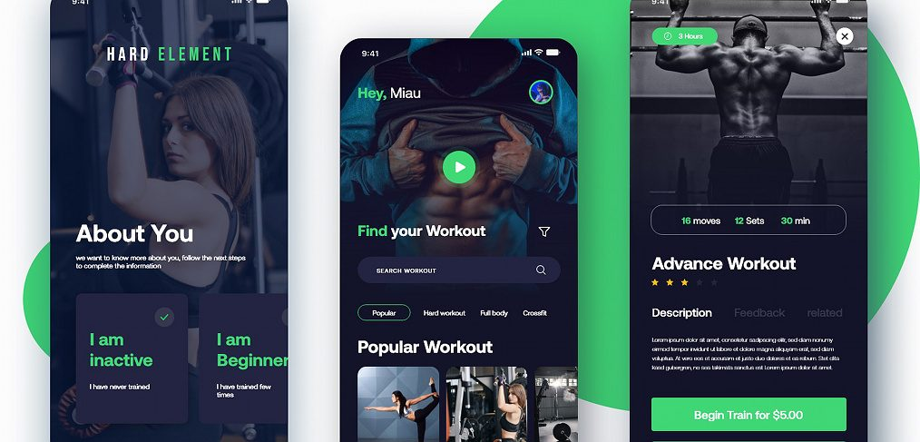 Workout mobile app XD template