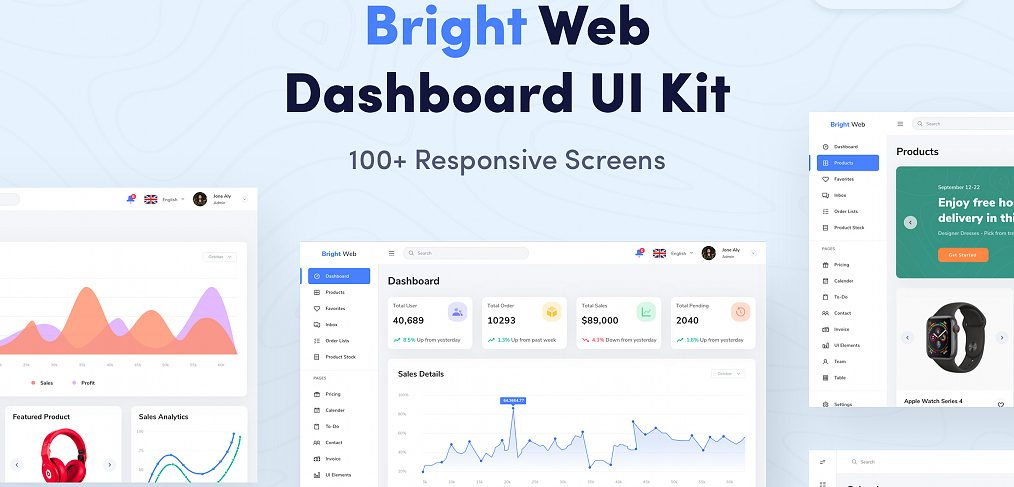Bright XD Dashboard UI Kit (Premium)