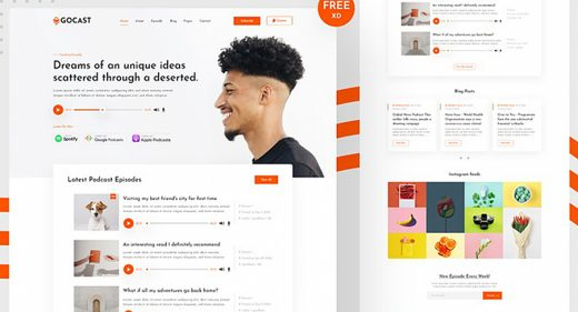 Podcast website free XD template