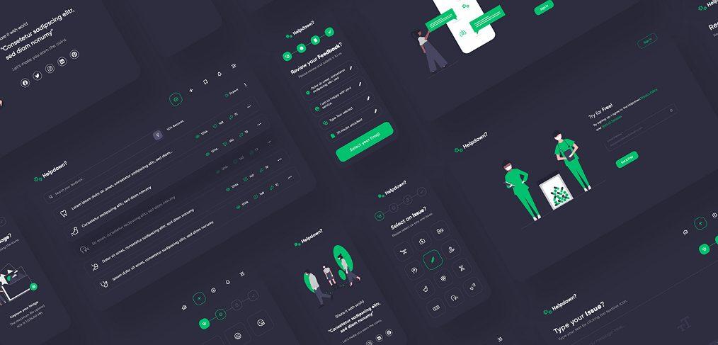Helpdown free app dashboard XD UI kit