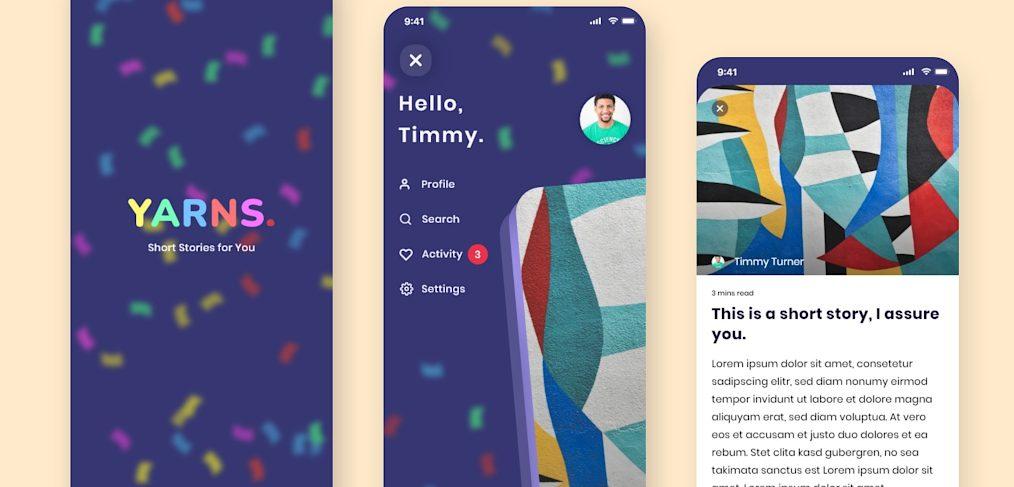 Short stories mobile app XD template
