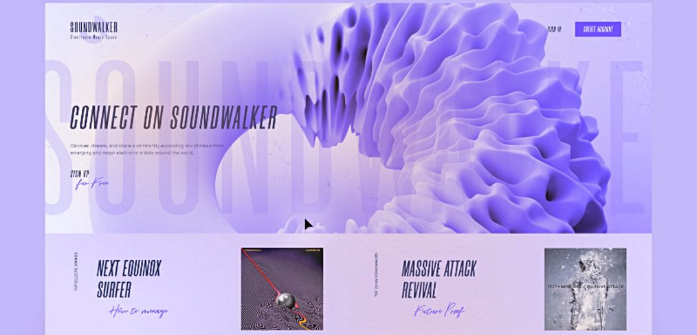 Soundwalker free Adobe XD template