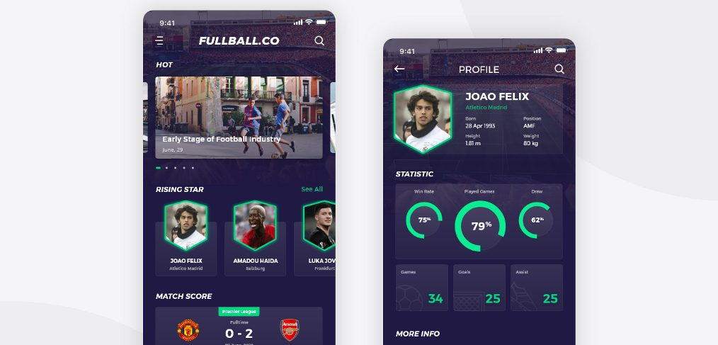 XD football free mobile app template
