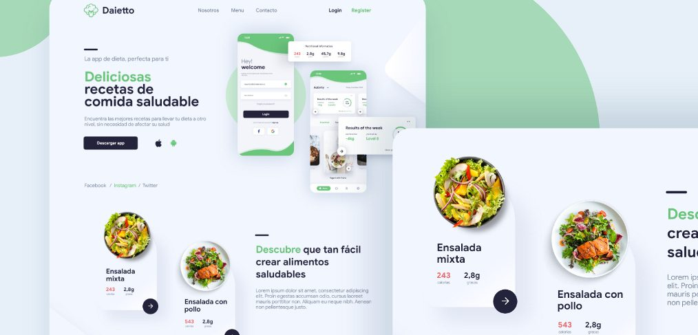 Daietto - Healthy food XD landing template