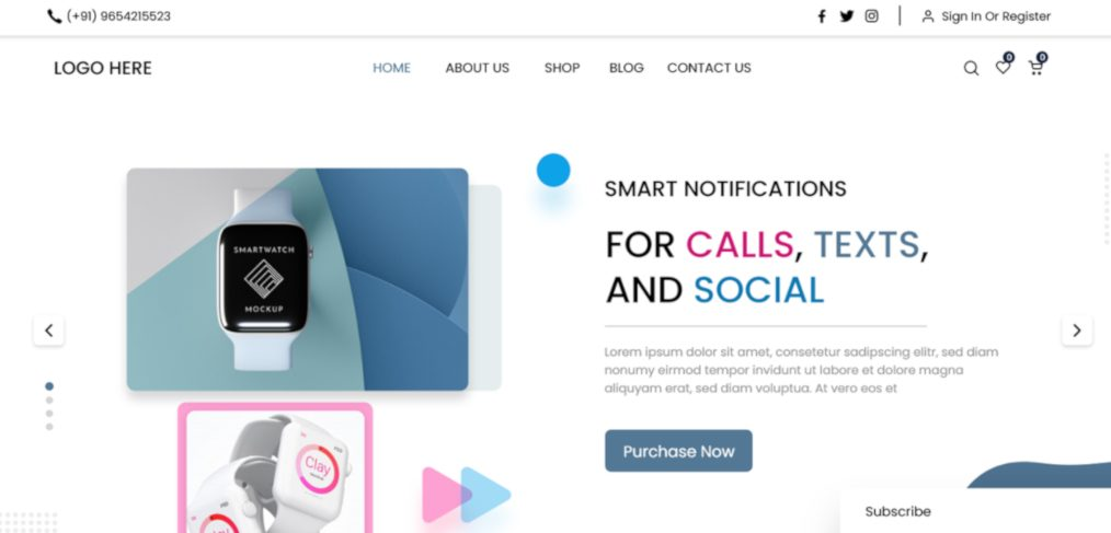 Smart watch XD landing page