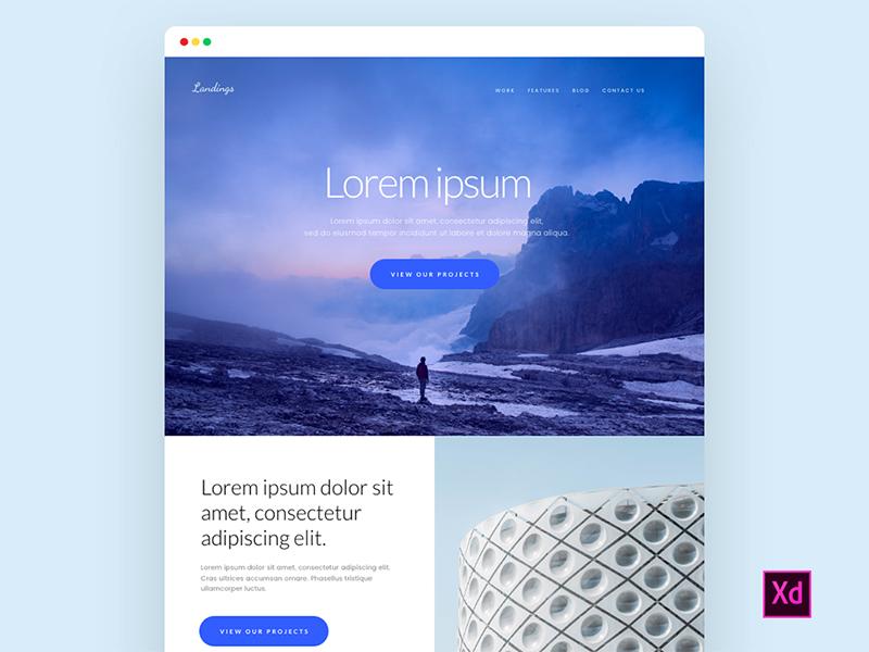 Free Landing Page Adobe XD by Hannah Milan