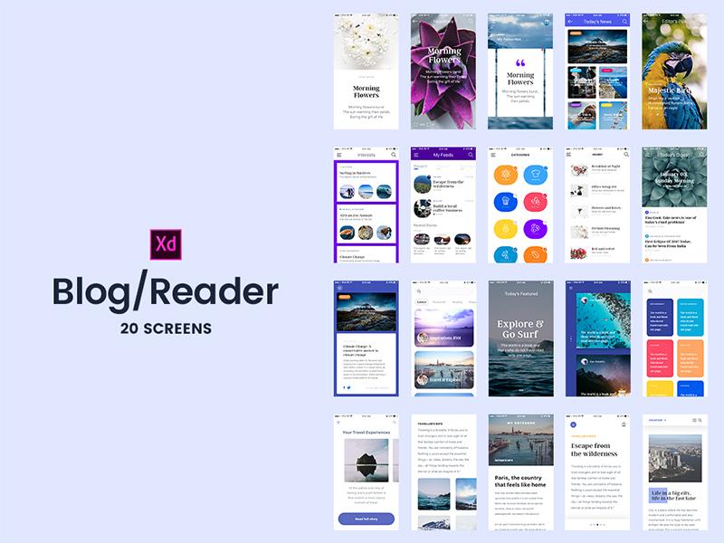 20 Бесплатных экранов приложения мобильного журнала и блога для Adobe Xd
