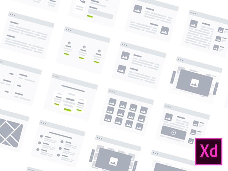 Бесплатный набор Wireflows карт для планирования веб-сайтов в Adobe XD