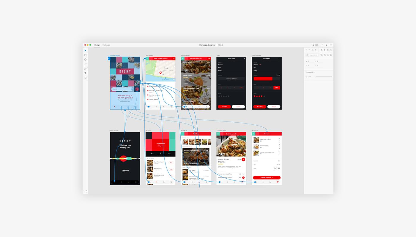 DISHY – Бесплатный UI Kit приложения для Adobe XD CC (Исходные файлы прототипа)