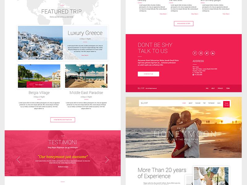 Sliyp Travel Agency Landing Page (Adobe XD)