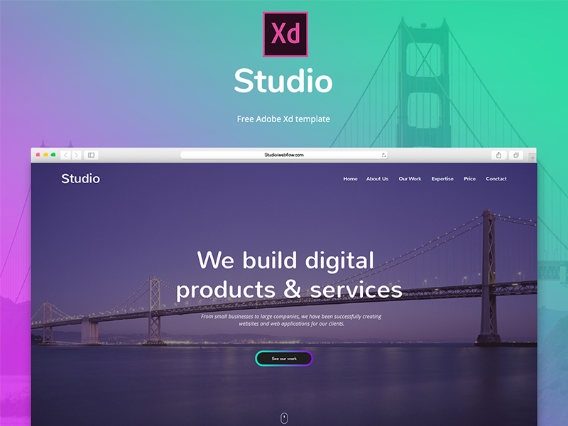 Studio - Free Adobe Xd template