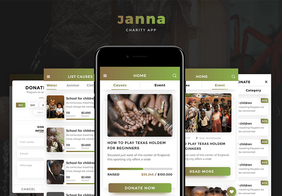 Janna Charity Mobile UI Kit - 30+ iOS optimized screens designed for Adobe XD