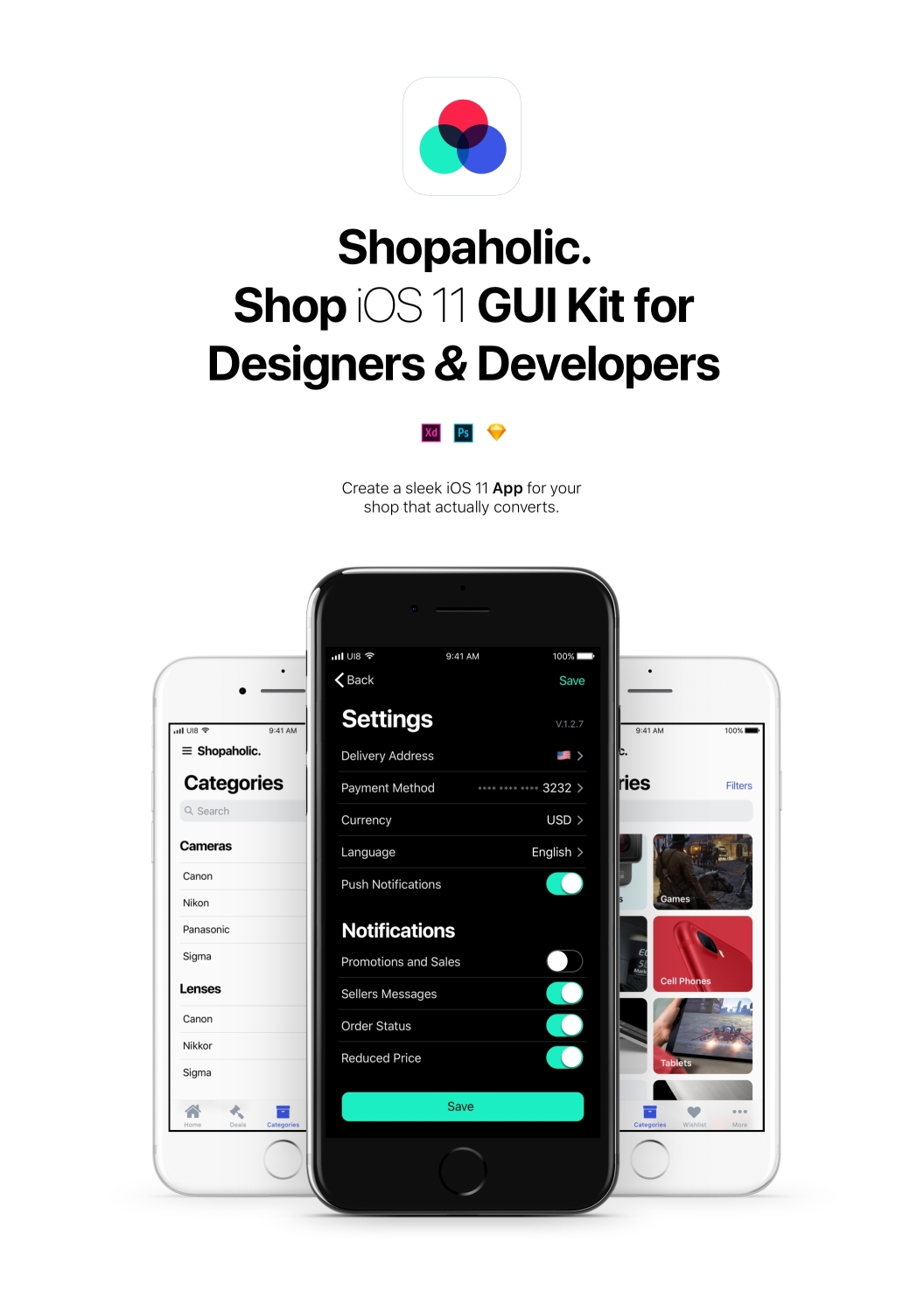 Shopaholic iOS 11 - Доскональный комплект UI электронной коммерции iOS 11 для Sketch, Photoshop и XD