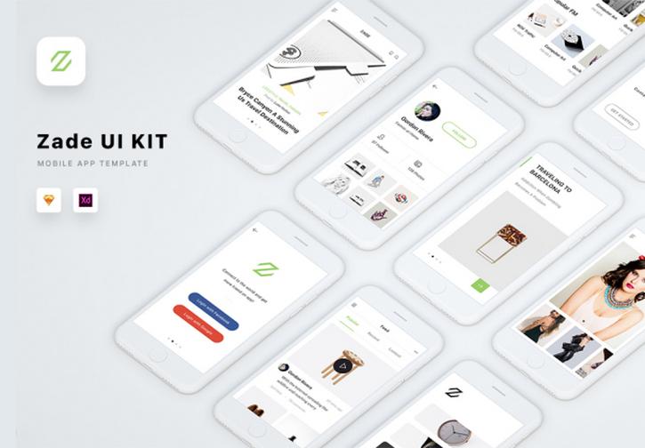 Zade Mobile UI KIT - 90+ iOS шаблонов мобильных экранов для Sketch и XD