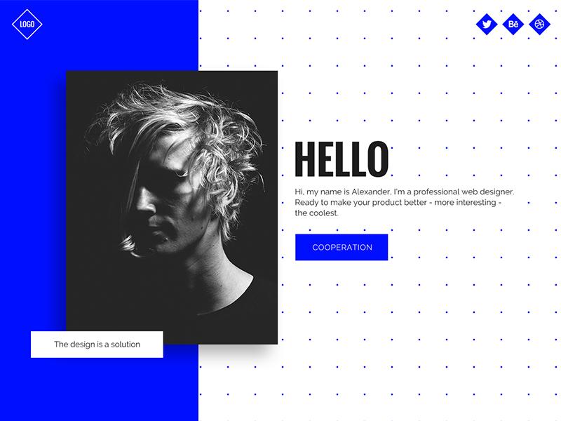 Бесплатный шаблон сайта портфолио творческого профессионала для Adobe XD