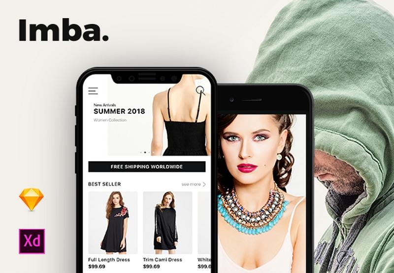 Imba Ecommerce Ui Kit - Модный iOS магазин для электронной торговли в формате XD и Sketch