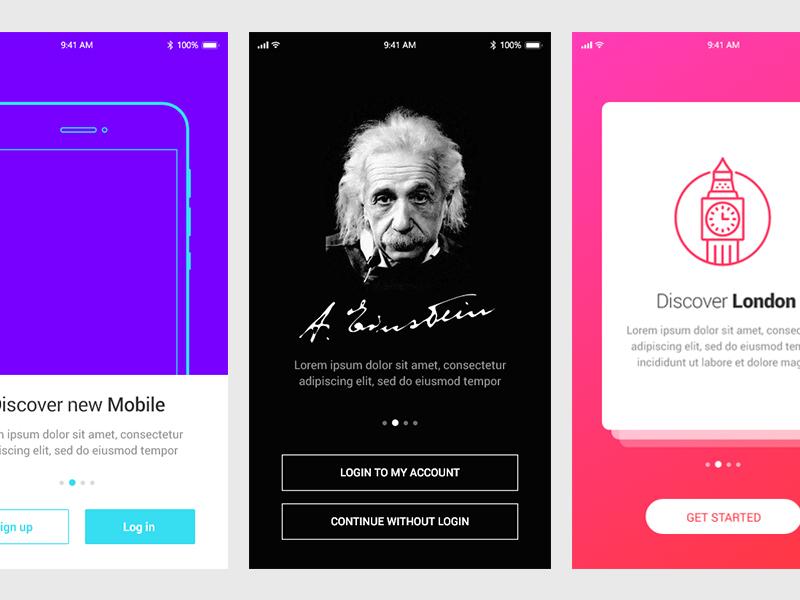 5 Бесплатных шаблонов вводных экранов мобильного приложения в формате Adobe XD